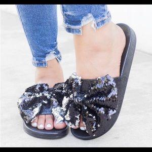 Black and silver slide sandals